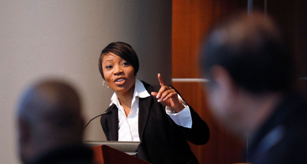 Dallas Police Chief U. Renee Hall address police applicants at the department's latest onsite testing at Jack Evans Police Headquarters in Dallas on Thursday, Sept. 7. About 80 candidates are applying to be Dallas police officers.