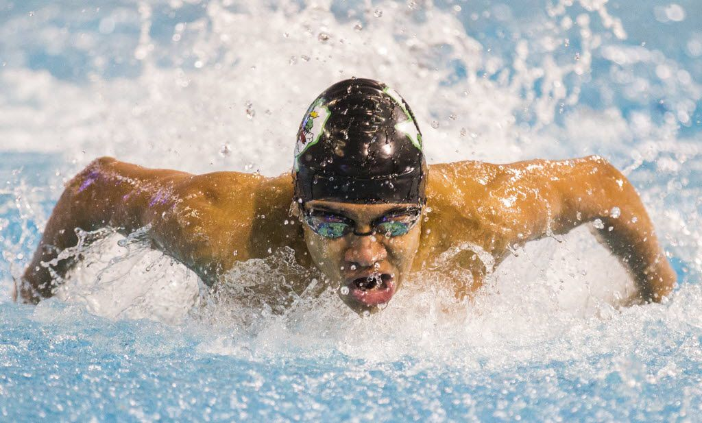 FILE - Southlake Carroll's Jack LeVant swims in the boys 100-yard butterfly final during the UIL Division 6A swimming and diving state finals on Saturday, February 21, 2015 at the Lee and Joe Jamail Texas Swim Center in Austin.   (Ashley Landis/The Dallas Morning News)