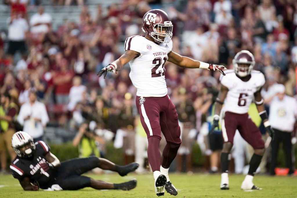 Texas A&M defensive back Charles Oliver (21) reacts after a play against South Carolina last season. He's one of the key returnees in the secondary.. (AP Photo/Sean Rayford)