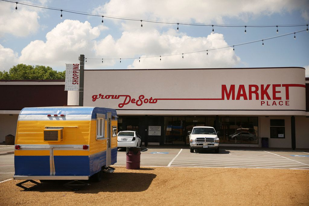 DeSoto Market Place is a retail incubator by Monte Anderson, the developer and owner of the property. Anderson wanted authentic and locally made retail to fill the space. Rental spaces are available monthly from $350 to $1,400.