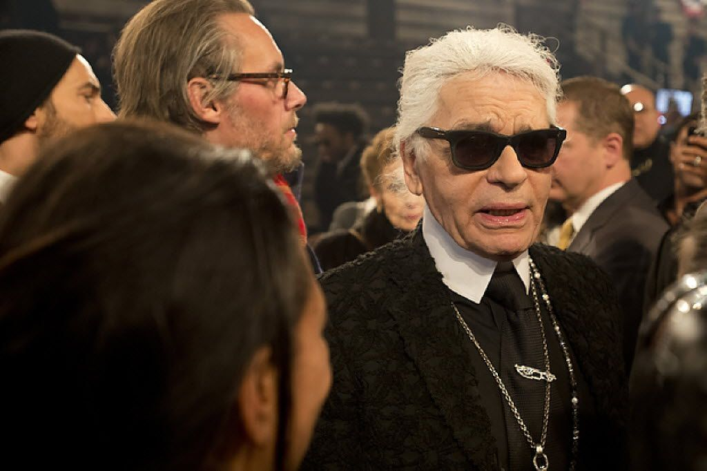 """Karl Lagerfeld is interviewed after the Chanel """"Metiers d'Art"""" Show at Fair Park on Dec. 10, 2013 in Dallas."""