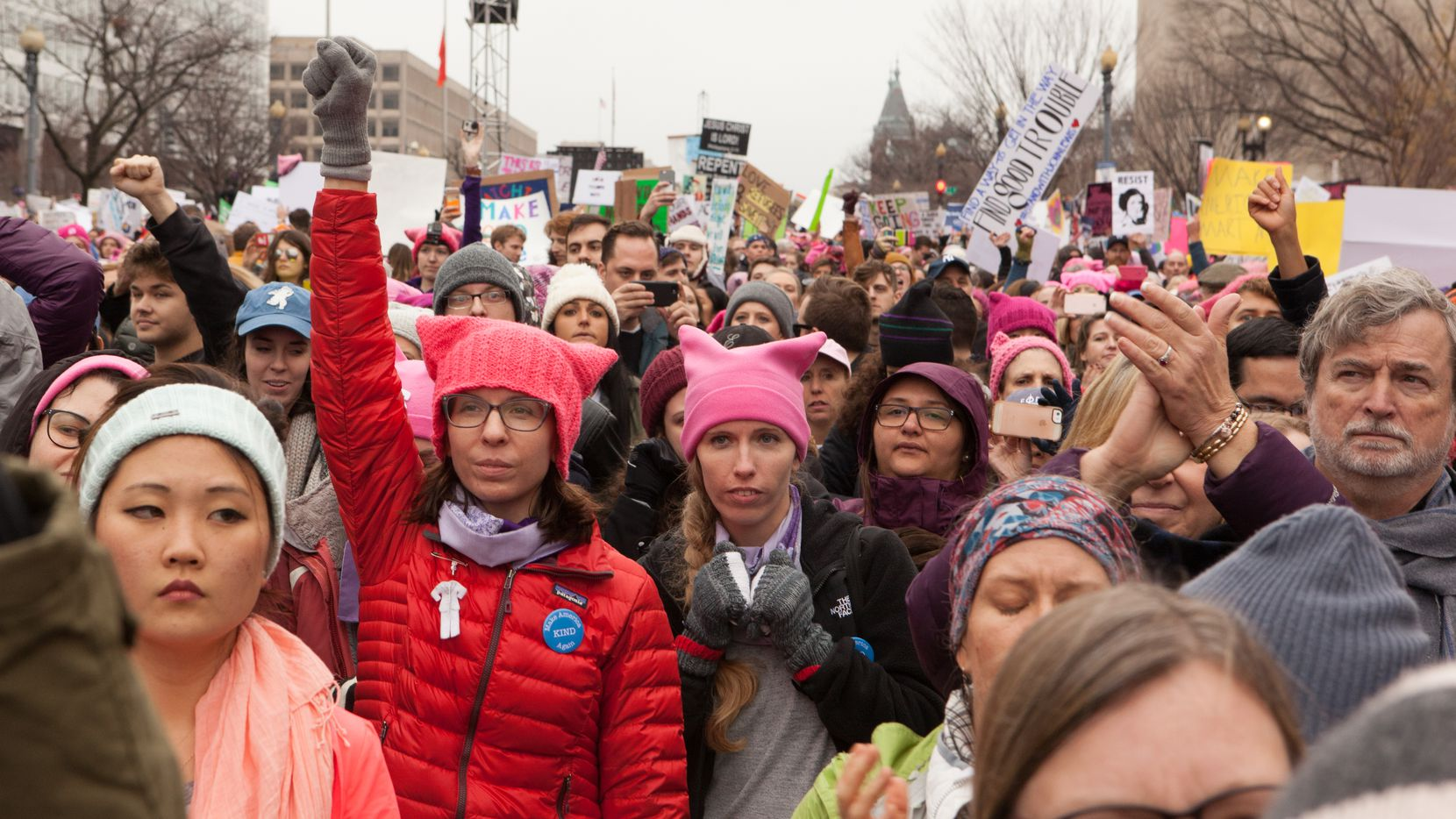 Women march in Washington D.C. Saturday January 21, 2017 following the inauguration of President Donald Trump.
