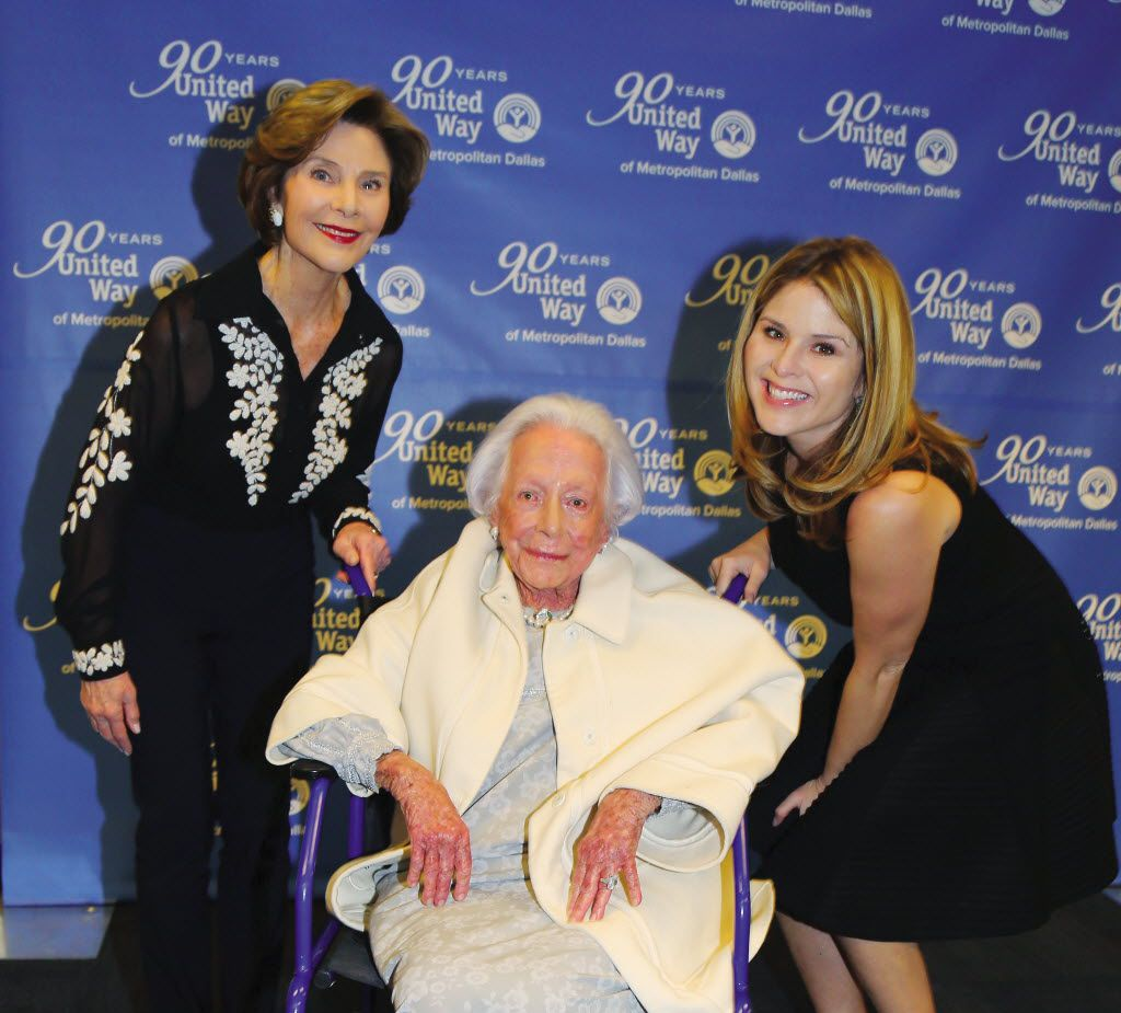 Although she worked modestly but determinedly behind the scenes, Margaret McDermott worked with Dallas' most influential leaders. Here, she's shown in 2015 with former first lady Laura Bush and daughter Jenna Bush. (United Way of Dallas)
