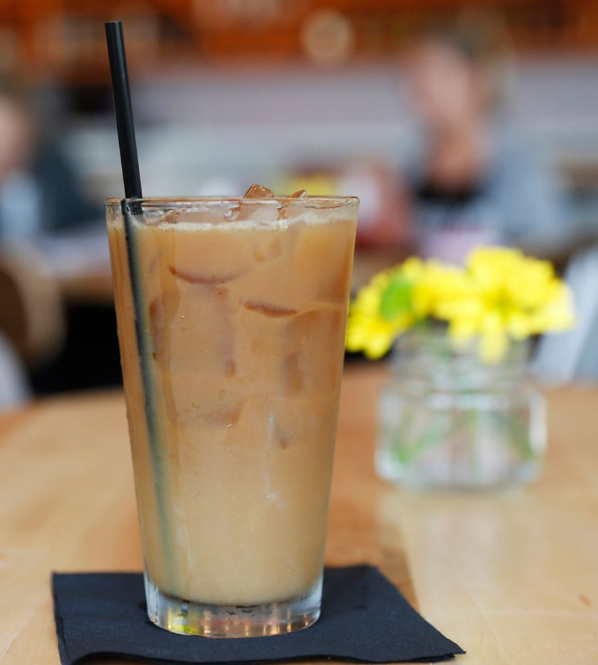 The Long Island Iced Coffee, made of Vodka, Rum, Gin, Frangelica and Kahlua, Bailey's cream and ice Toddy, one of the drinks available at the Halcyon Coffee Bar and Lounge on Tuesday  March 28, 2017. The new coffee bar and lounge is located at 2900 Greenville Ave. in Dallas. (Ron Baselice/ The Dallas Morning News)
