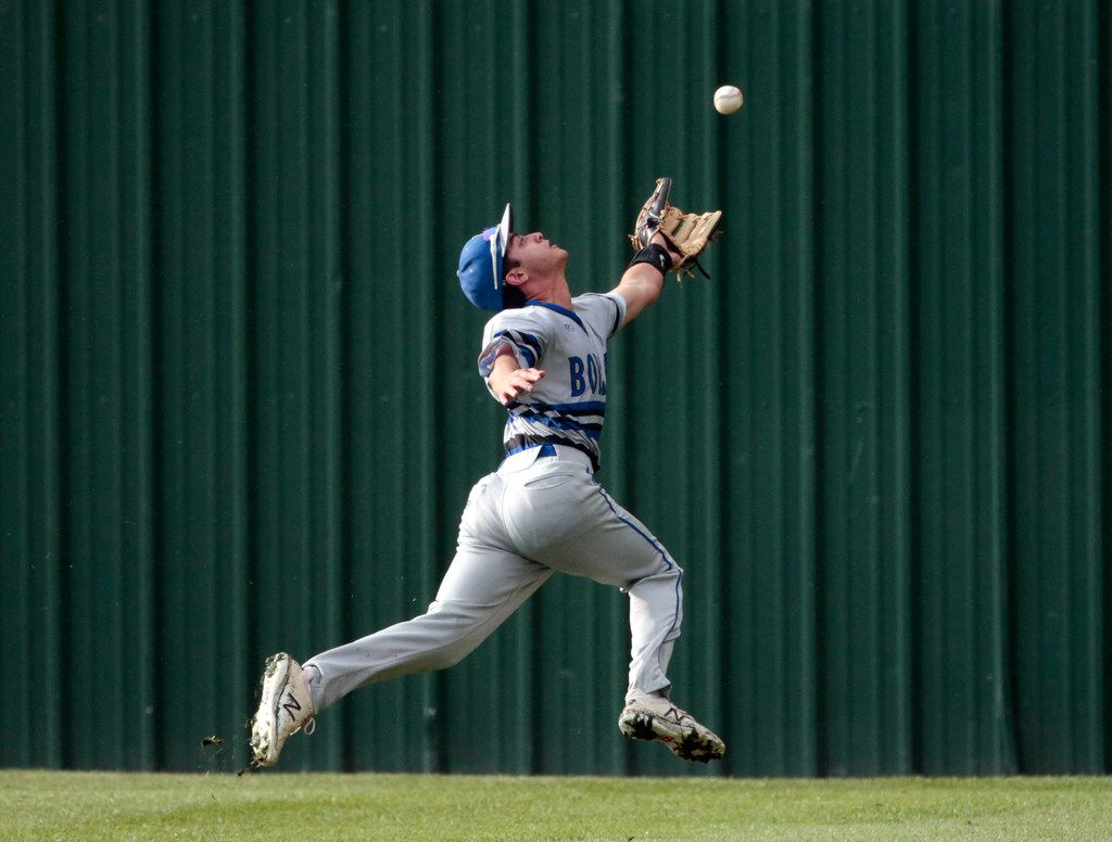 Byron Nelson's Brandon Flamand (15) can't reach a triple by Marcus Maurader's Brendan Concannon during  the second inning of game 2 of the Class 6A bi-district playoff boys baseball playoffs on May 3, 2019. (Michael Ainsworth/Special Contributor)