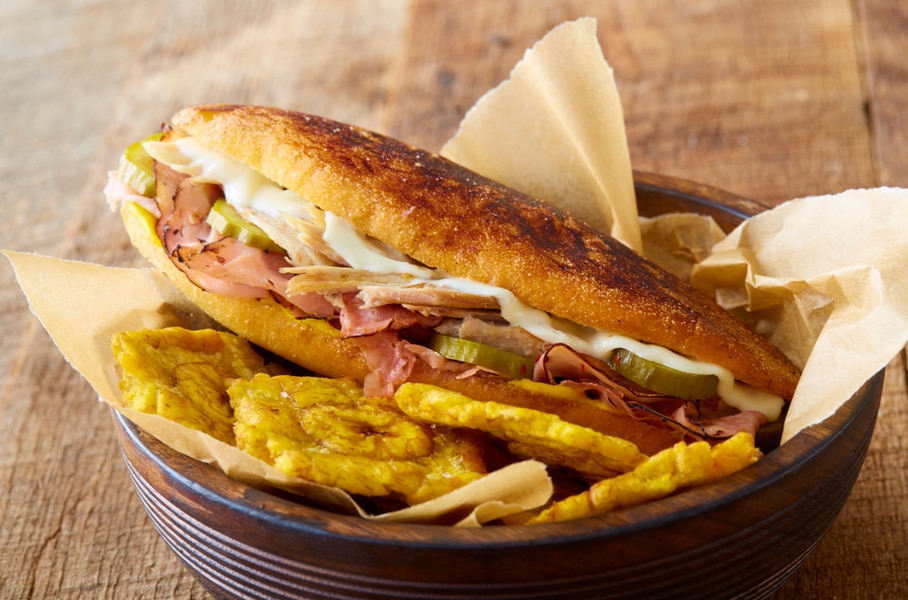 The Cuban sandwich comes with fried plantains.