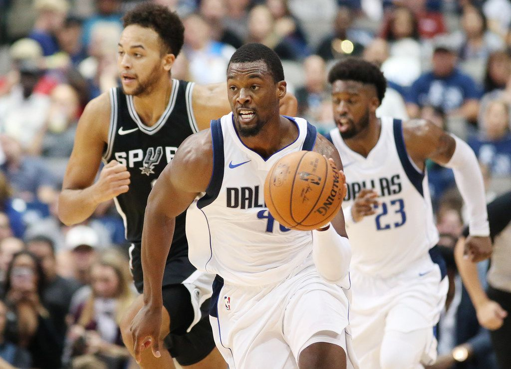 Dallas Mavericks forward Harrison Barnes (40) runs with the ball in the second half of a National Basketball League game between the San Antonio Spurs and the Dallas Mavericks at the American Airlines Center in Dallas Tuesday November 14, 2017. San Antonio Spurs beat the Dallas Mavericks 97-91. (Andy Jacobsohn/The Dallas Morning News)