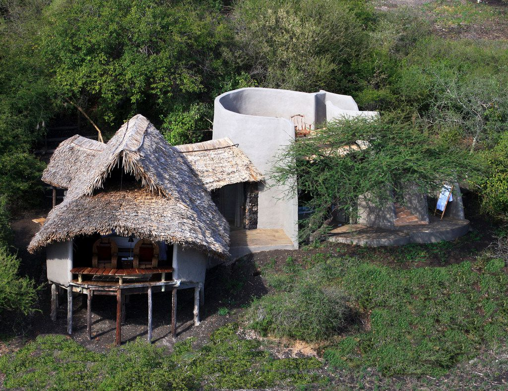 Ol Donyo Lodge offers luxury star bed accommodations in the Chyulu Hills, between two of Kenya's national parks.