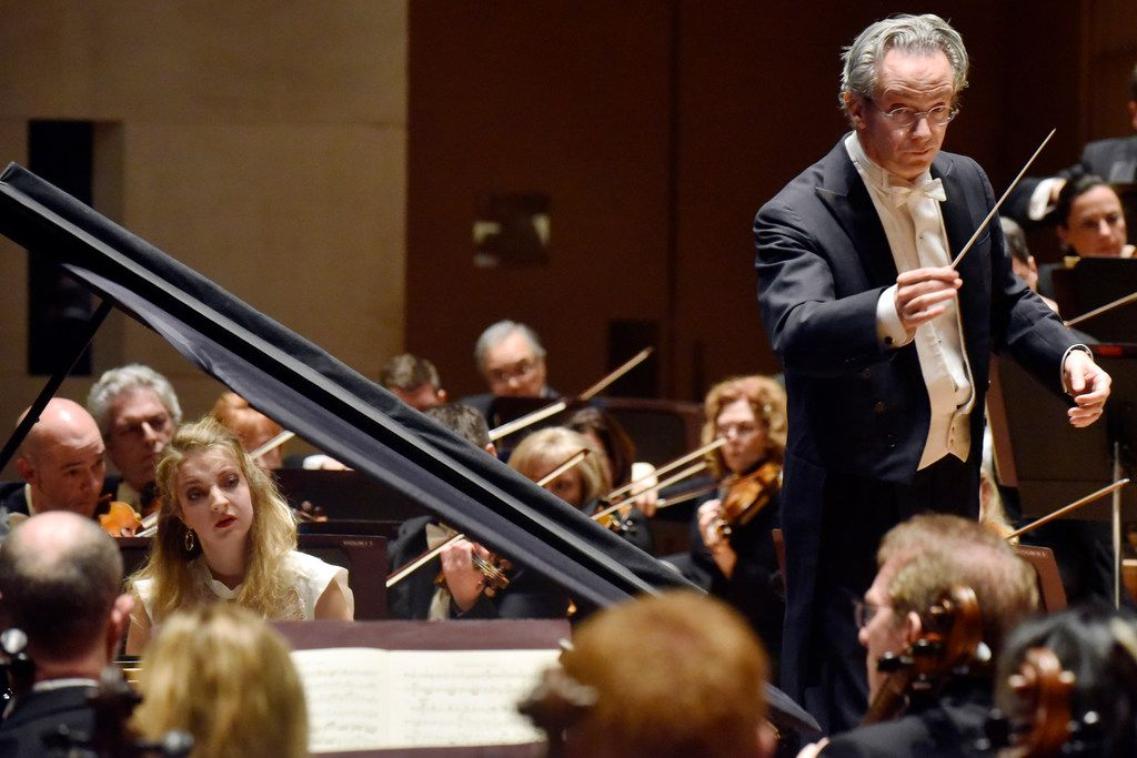 The Dallas Symphony Orchestra with conductor Fabio Luisi, right, and pianist Lise de la Salle perform Beethoven Concerto No. 4 in G major for piano and orchestra, Op. 58, at the Morton H. Meyerson Symphony Center in Dallas on March 8.