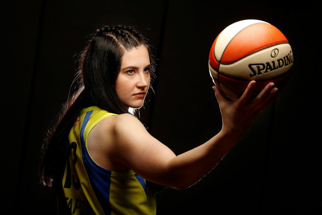 Dallas Wings basketball player Megan Gustafson poses for a photo during media day at College Park Center in Arlington, Texas, Monday, May 20, 2019. (Tom Fox/The Dallas Morning News)