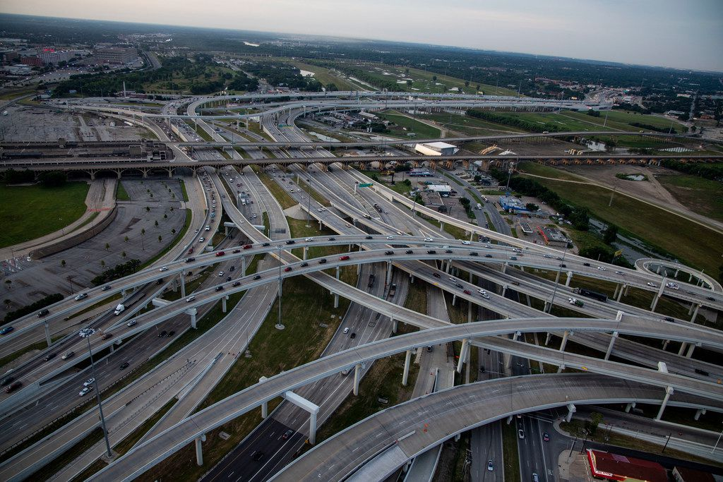 Highway lanes for the split between I-30 and I-35E are seen in the Mixmaster area where the two highways merge and split in downtown Dallas on Friday, June 14, 2019. At far right is Riverfront Blvd shown looking toward the south.
