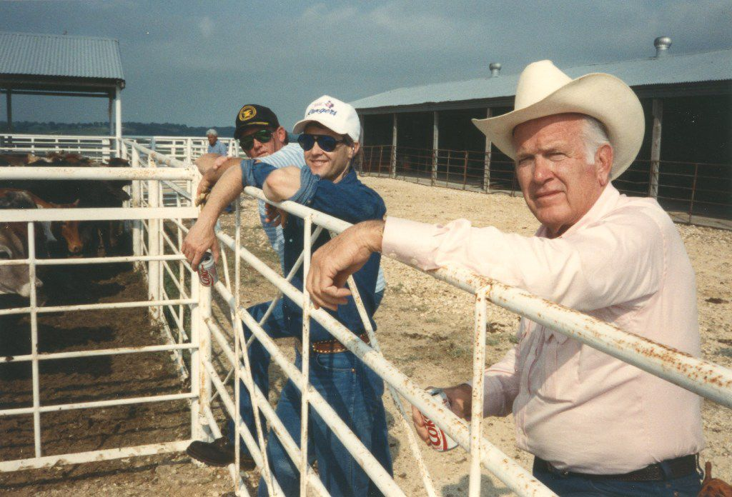 Cloyce Box (right) at his showplace Box Ranch with his sons Gary Box (left) and Doug Box (center).