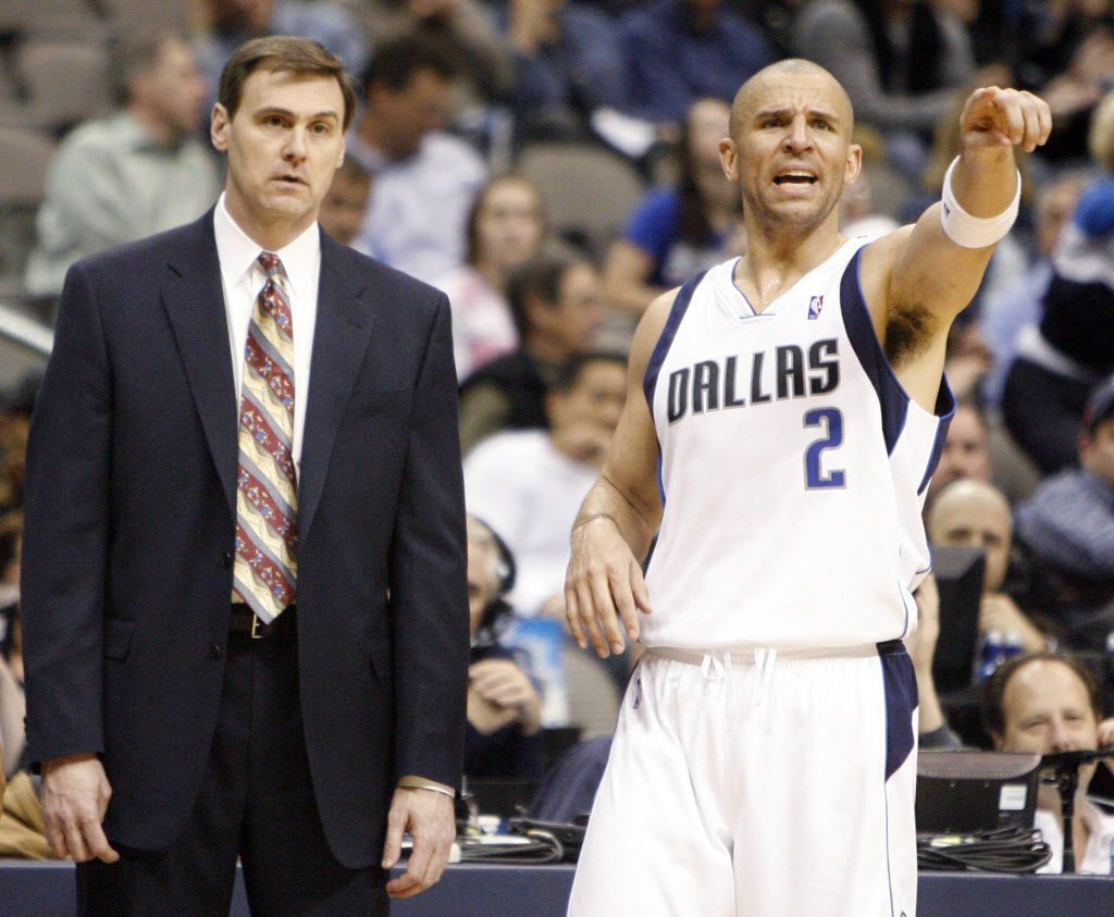 Dallas Mavericks head coach Rick Carlisle and Jason Kidd (2) during a break in play in a game against the Portland Trail Blazers during the second half of play at American Airlines Center in Dallas on Thursday, February 4, 2009. (Vernon Bryant/The Dallas Morning News)