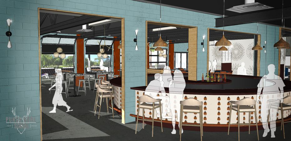 An artist's rendering of the interior of Punch Bowl Social in Fort Worth.