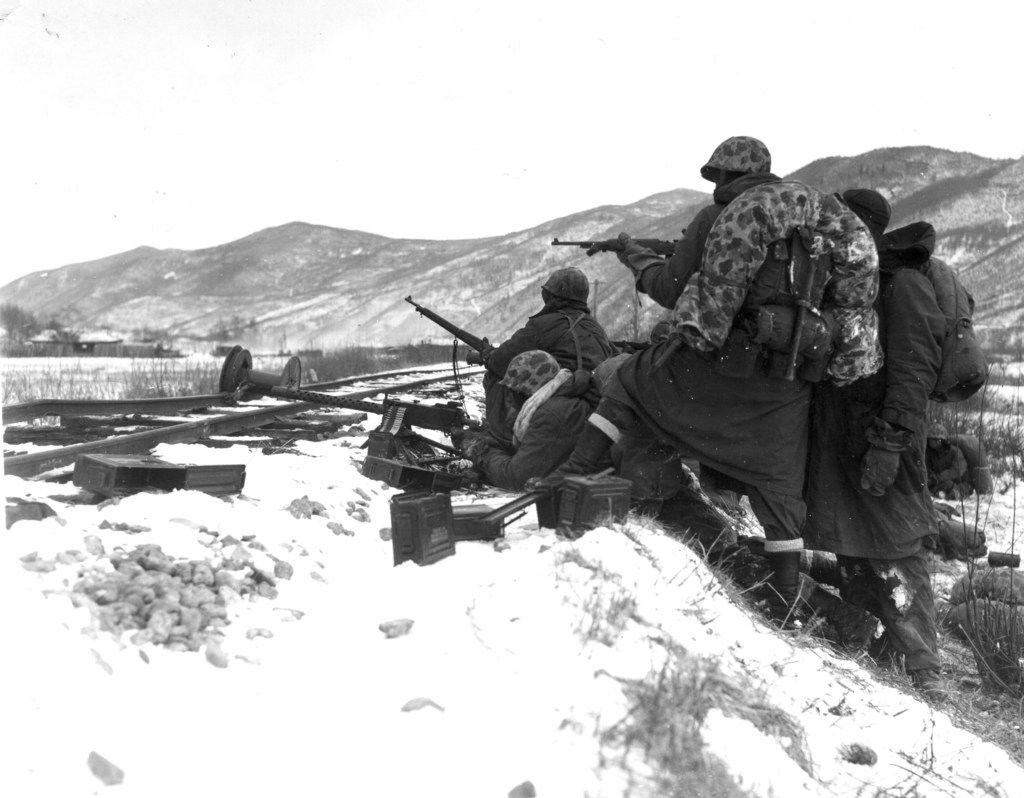 First Division Marines at Chosin, Korea, Dec. 7, 1950.