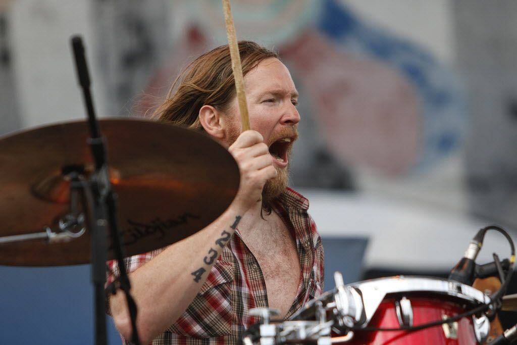 The Sideshow Tragedy drummer Jeremy Harrell roars during their performance on the Amphitheater Stage at the Wildflower! Arts & Music Festival in Richardson, TX on Saturday, May 16, 2015.
