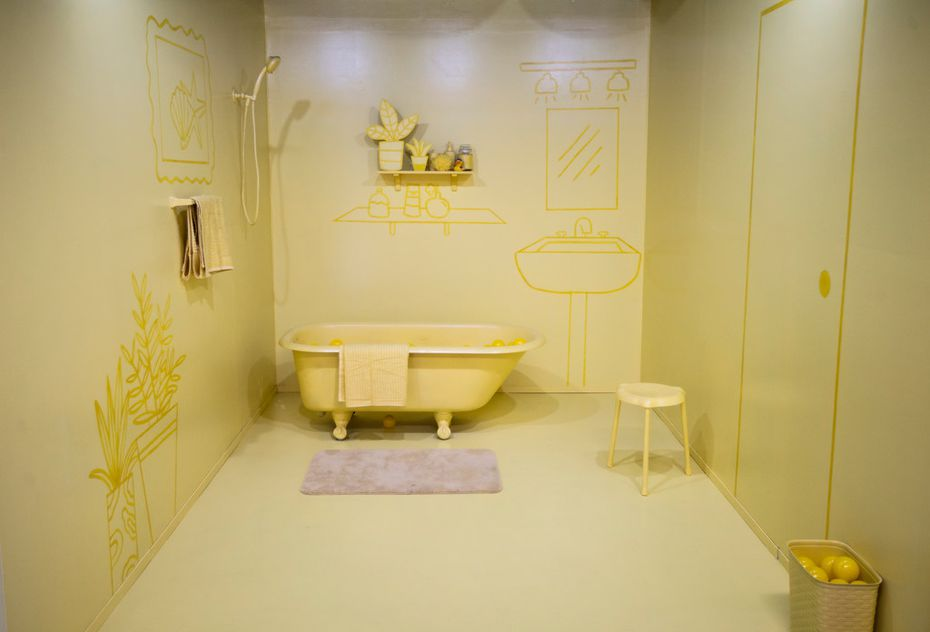 Three monochromatic rooms are bathed in yellow, blue or coral. Visitors to the Museum of Memories are encouraged to climb in the bathtub.