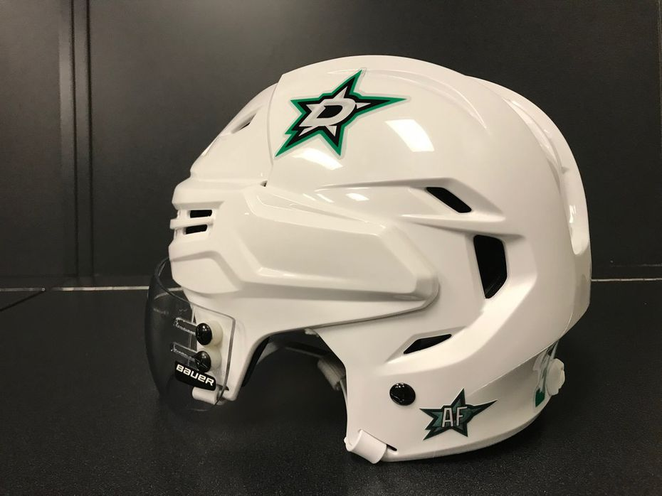 A Stars helmet is pictured with a decal honoring Arlene Forbes.