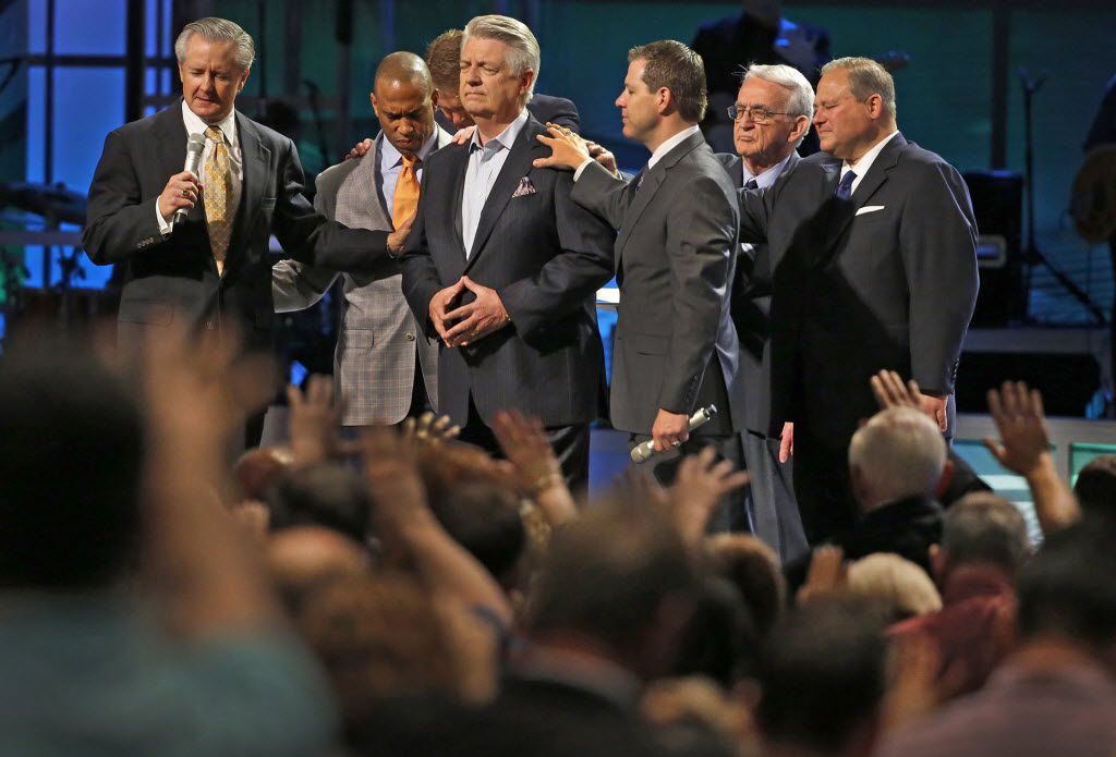 Mike Buster (left), executive pastor at Prestonwood Baptist Church, has filed a lawsuit against Rep. Byron Cook and Florida businessman Joel Hochberg, both named in Paxton's fraud indictments.