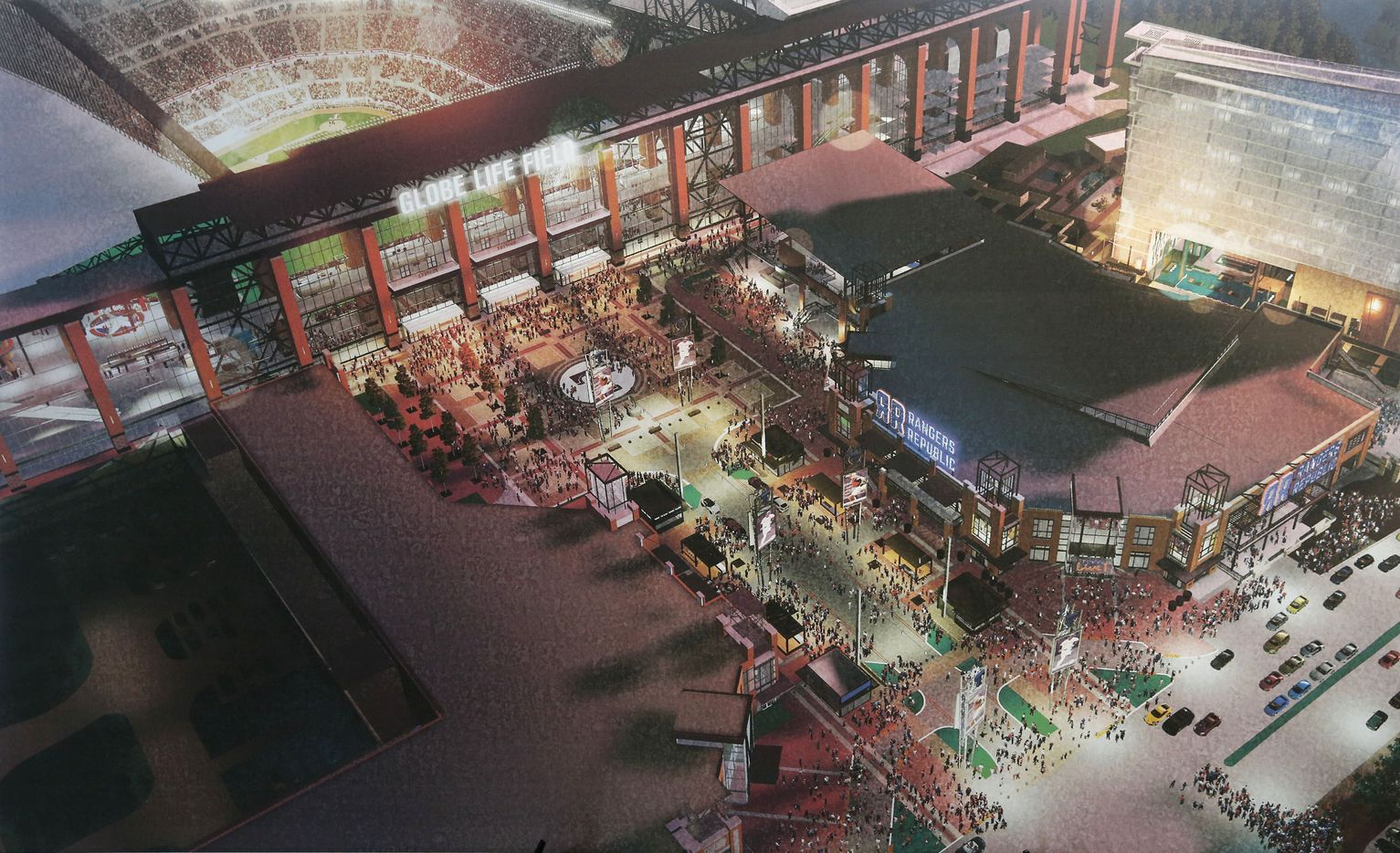 A rendering of a small part of Texas Live! is seen next to Globe Life Field