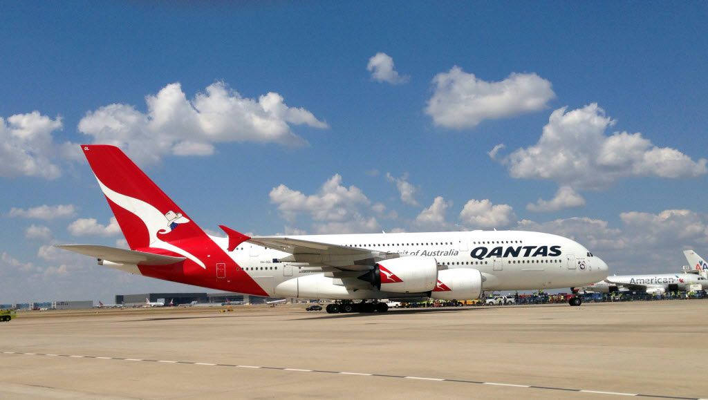 The first Qantas A380 airplane arrived at Dallas/ Fort Worth International Airport on Monday, September 29, 2014. They will have their first outbound flight to Australia tonight on Monday, September 29, 2014. (David Woo/The Dallas Morning News) ORG XMIT: DMN1409291334428841