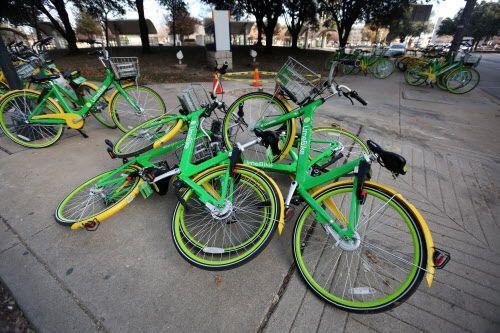Bicicletas amontonadas en Live Oak y Olive Street. La ciudad dio hasta el 7 de febrero para que las empresas de bicicletas pongan orden.