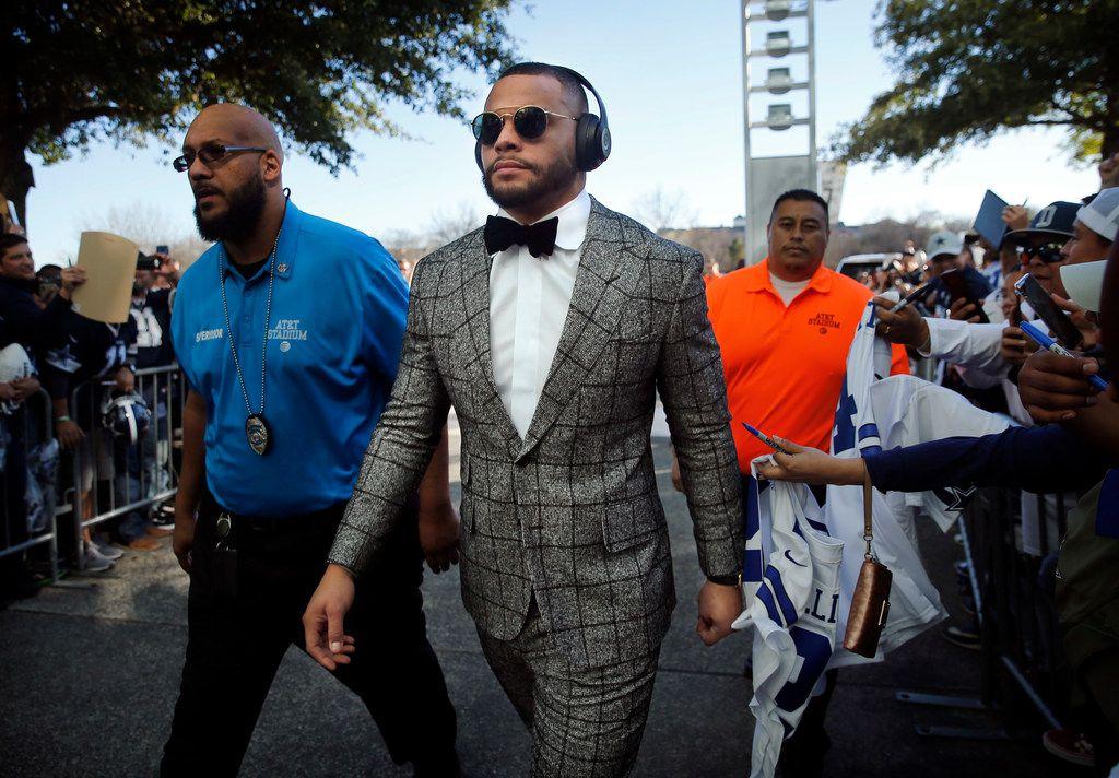 Dallas Cowboys quarterback Dak Prescott arrives at AT&T Stadium in Arlington, Texas for their NFC Wild Card game against the Seattle Seahawks, Saturday, January 5, 2019. (Tom Fox/The Dallas Morning News)
