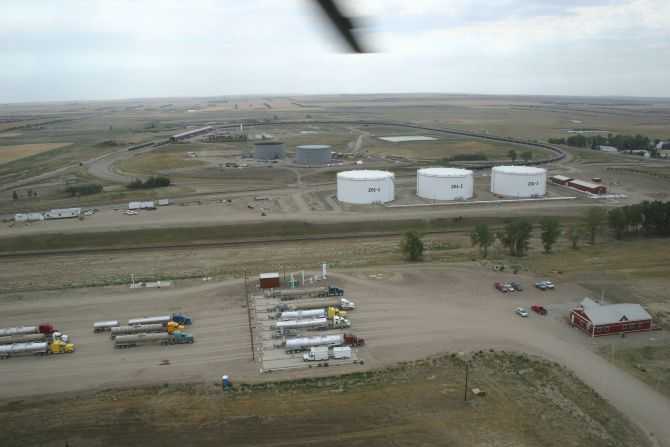 The oil transfer station near Epping, N.D., is in the midst of an expansion.