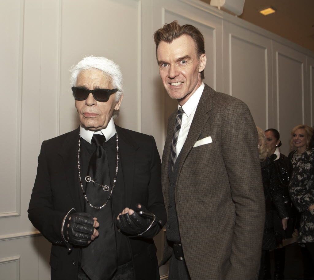 Karl Lagerfeld (left) and Ken Downing are pictured at the Chanel awards ceremony at Neiman Marcus  in downtown Dallas on Dec. 11, 2013.
