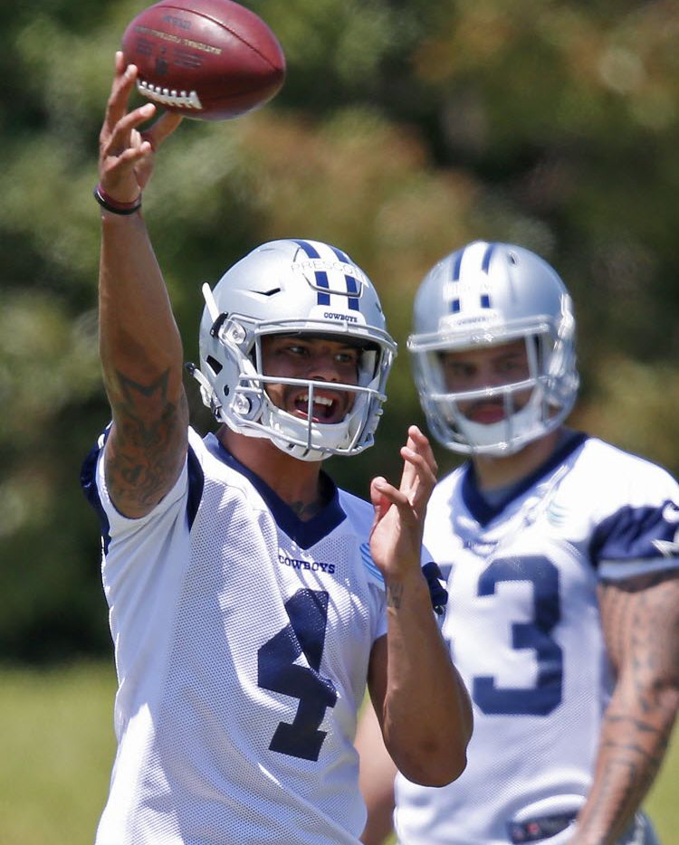 Cowboys rookie quarterback Dak Prescott throws the ball during the Dallas Cowboys rookie minicamp at Valley Ranch in Irving, Texas, Friday, May 6, 2016. (Jae S. Lee/The Dallas Morning News)