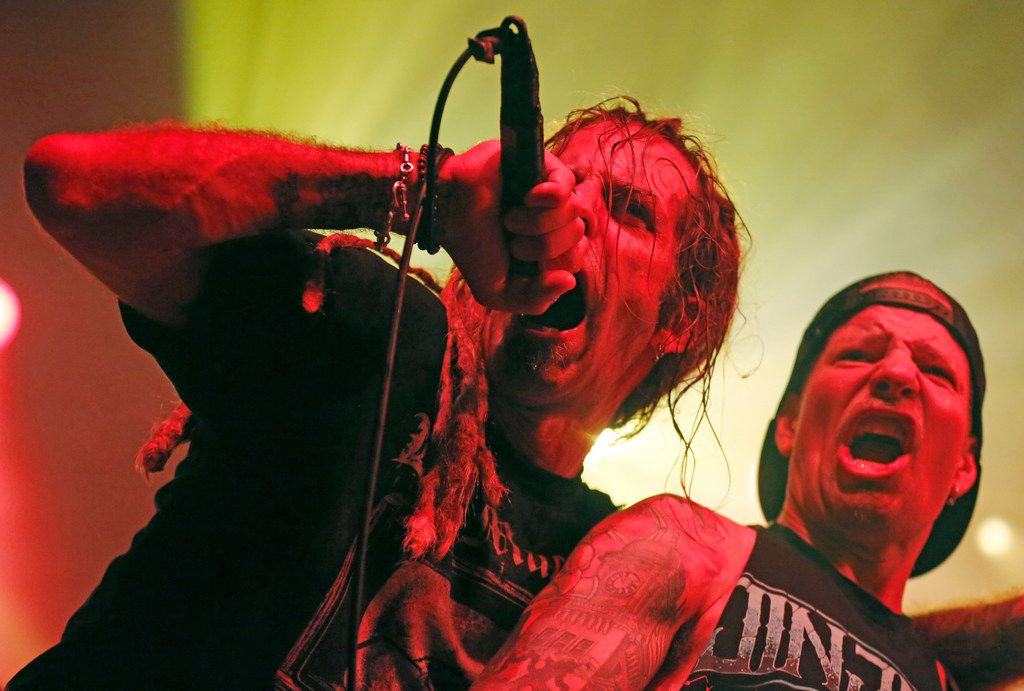 Lamb of God vocalist Randy Blythe and guitarist Willie Adler perform during their opening set for Slayer's final Dallas show Tuesday at the Bomb Factory in Deep Ellum.