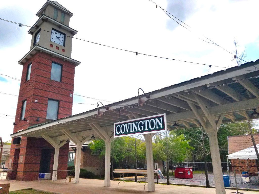 The Covington, La., clock tower and train station replica mark the trailhead for the 31-mile Tammany Trace through Tammany Parish. Covington is a relatively unknown foodie haven just across Lake Pontchartrain from New Orleans.