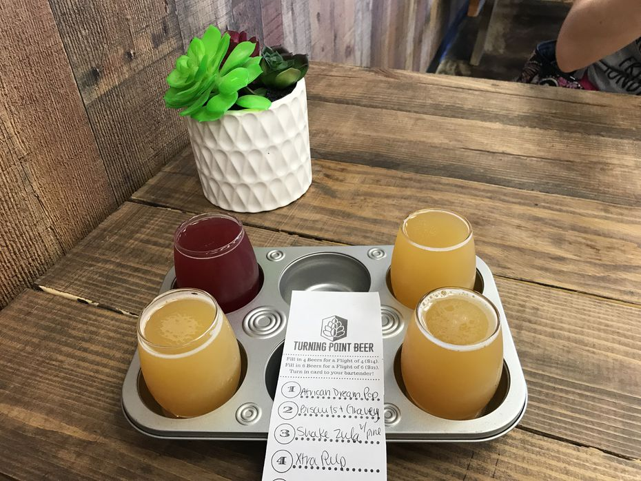 A flight of beers from Turning Point Beer in Bedford, which specializes in New England-style IPAs.