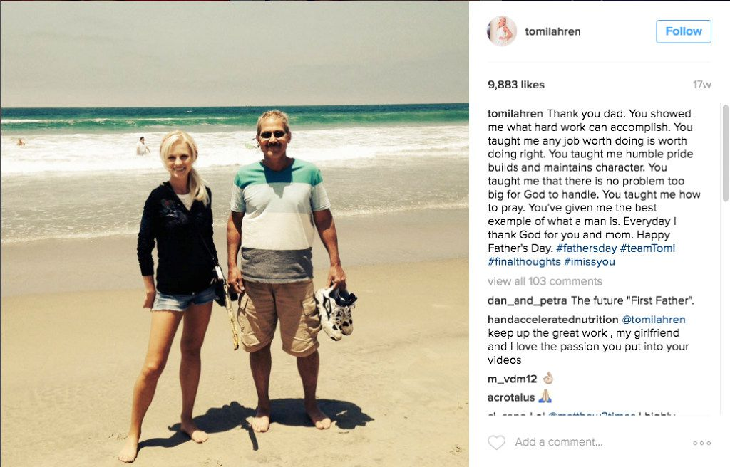 A photo posted this year on Father's Day to the Instagram account of Lahren shows her with her dad, Kevin, at a beach. With it, she posted comments thanking her father for what he taught her about hard work, character and faith.