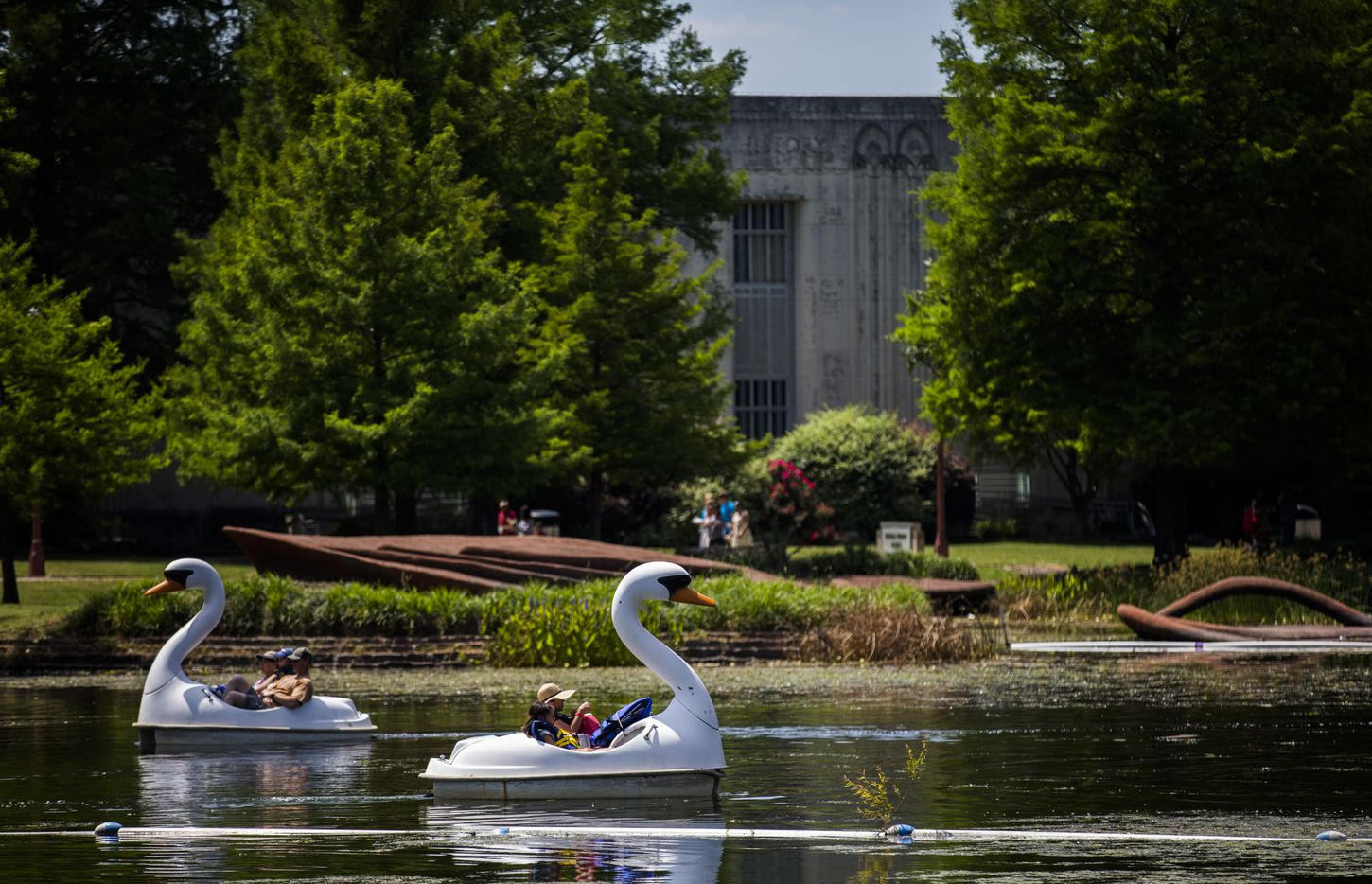 People ride in swan boats during the 27th Home Depot Asian Festival on Saturday, May 13, 2017 at Cotton Bowl Plaza in Dallas Fair Park.