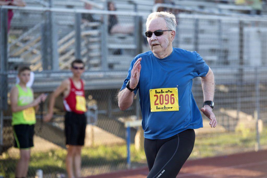 Joe Vaughan, 84, competes in the 100-meter race in the Luke's Locker All-Comers Track Meet in 2016. He beat me, but good.