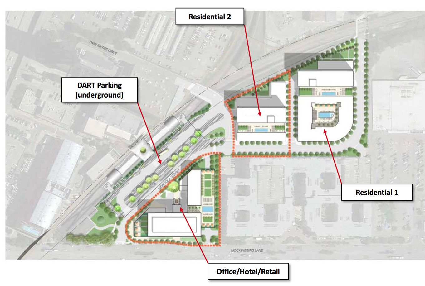 Developer Trammell Crow proposes a series of buildings to be constructed on parking lots adjacent to DART's Mockingbird Station.