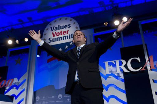 Sen. Ted Cruz speaks during the 2015 Values Voter Summit, held by the Family Research Council on Sept. 25, 2015, in Washington. (AP Photo/Jose Luis Magana)