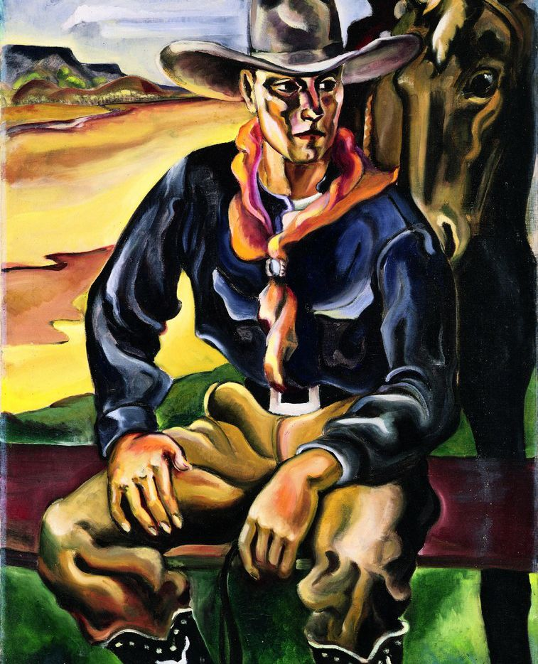 R. Vernon Hunter's 1928 work Cowboy is on loan from the Collection of the Panhandle-Plains Historical Museum.