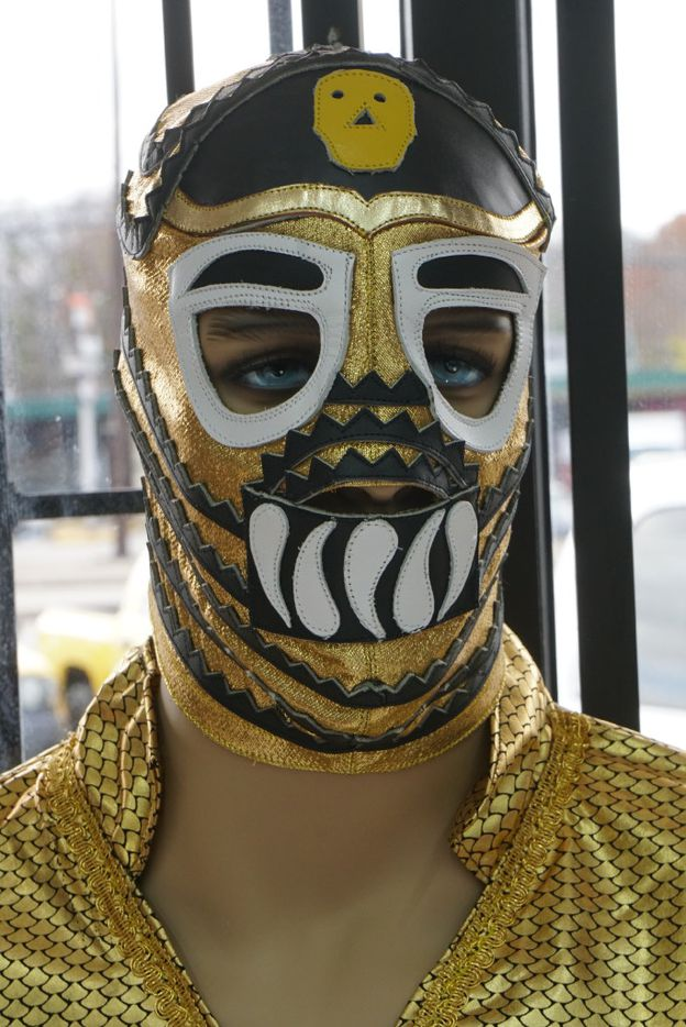 """The customers love all the wrestling paraphernalia Maskaras Mexican Grill in Dallas. This is a mannequin dressed as famous luchador Mil Mascaras in his film """"Los Canallas."""""""