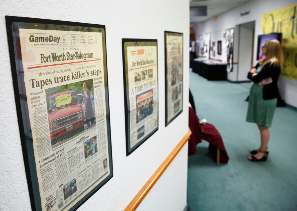 The church's display also included newspaper reports and televisions playing broadcasts about the shootings.