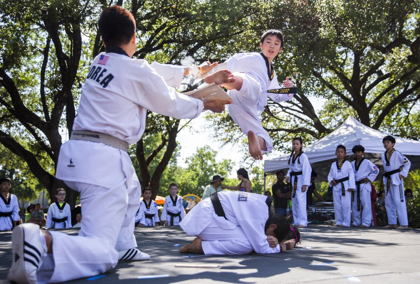 Ayden Nguyen, 11, breaks a board held by Master Joung-Hun Bang as they perform with other members of US White Tiger Martial Arts of Plano, performs during the 27th Home Depot Asian Festival on Saturday, May 13, 2017 at Cotton Bowl Plaza in Dallas Fair Park.