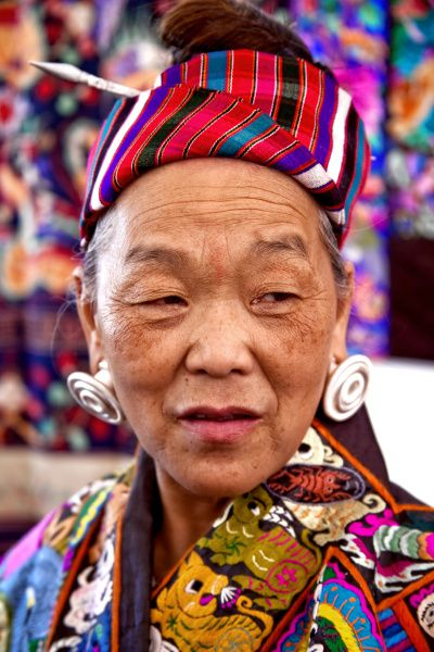Yuzhen Pan has come several times from China with her textiles to take part in Santa Fe's annual International Folk Art Market.