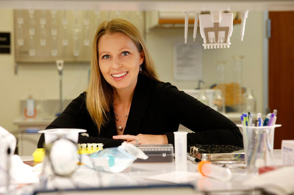 Assistant professor, Heather Hayenga poses for a portrait in the Vascular Mechanobiology Laboratory at the University of Texas at Dallas in Richardson, Texas on Tuesday, July 24, 2018. UT-Dallas has qualified for the states' National Research University Fund. They plan on using the $7.5 million to help with research efforts. (Vernon Bryant/The Dallas Morning News)