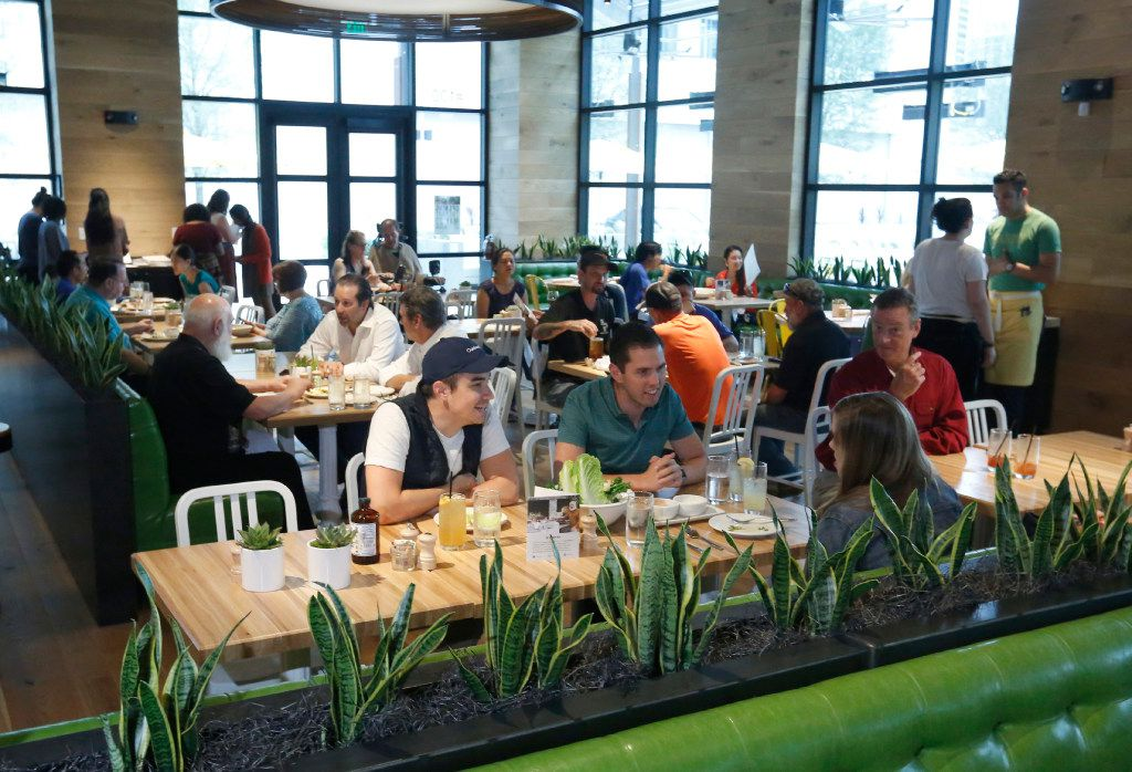 The lunch crowd starts to fill True Food Kitchen at Legacy West in Plano on Friday May 19, 2017. (Ron Baselice/The Dallas Morning News)