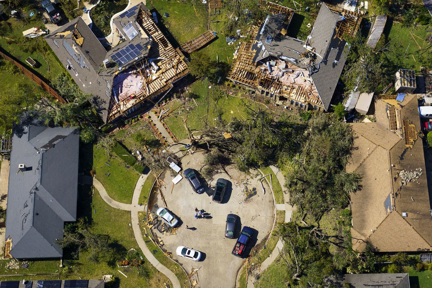 Damaged homes in a cul-de-sac on Stillmeadow Drive in Richardson on Monday, Oct. 21, 2019, in Richardson.