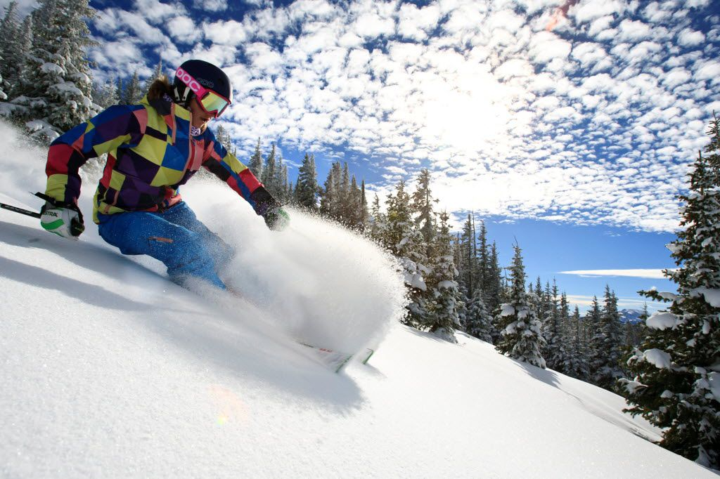 A skier makes her way downhill at Blue Sky Basin in Vail, Colo. The ski destination was certified by Sustainable Travel International as the world's first Sustainable Mountain Resort.