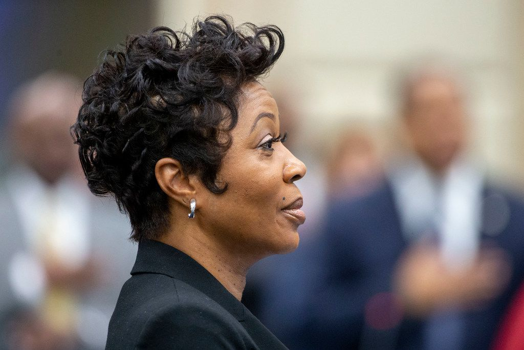 Police Chief U. Reneé Hall Stands for the National Anthem before a City Council briefing on a Dallas Police Department staffing study on Monday, August 26, 2019. (Shaban Athuman/Staff Photographer)