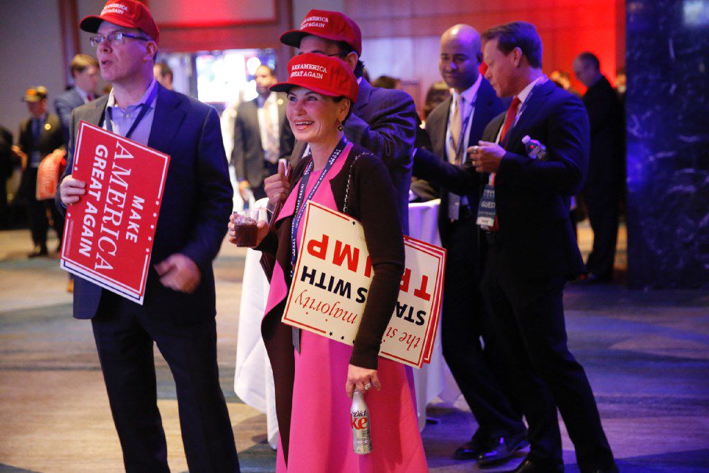 Republicans were in a celebratory mood at Donald Trump's election party Tuesday night at the Midtown Hilton hotel in New York. (Tom Fox/Staff Photographer)