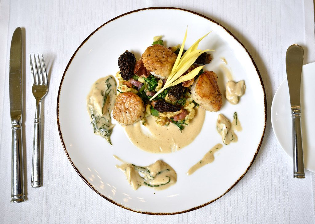 Pan seared George's bank sea scallops and parmesan spatzle with broccolini served on the Mother's Day menu from Fearing's restaurant in Dallas, April 26, 2019. Ben Torres/Special Contributor